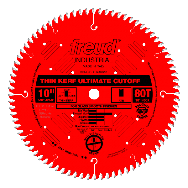 Freud 80T fine crosscut blade with   expansions slots